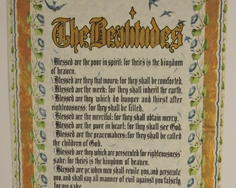 Print Scripture Bible The Beatitudes Matthew 5:3-12 Blessed Are The Poor In Spirit Calligraphy Gothic Wall Art 8 X 10