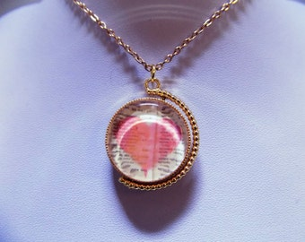 I love you, Heart Rose Gold Rotating Necklace