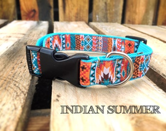Adjustable Dog Collar with heavy duty webbing and ribbon * turquoise orange indian aztec pattern * INDIAN SUMMER *by Easy and Cooper