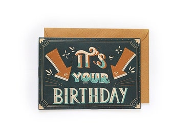 It's Your Birthday - Handlettered Card - Handletterd birthday card - typograpy card - birthday card - happy birthday card