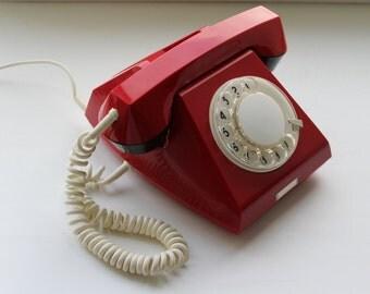 Soviet phone. Desk phone. rotary phone. Disk phone. Vintage phone USSR. Red phone