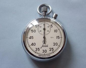 Soviet stopwatch AGAT. Mechanical chronometer USSR. Working.