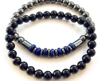 Men's Stacking Bracelet Set Onyx, Hematite And Lapis Lazuli 6mm Stretch Fit UK Made