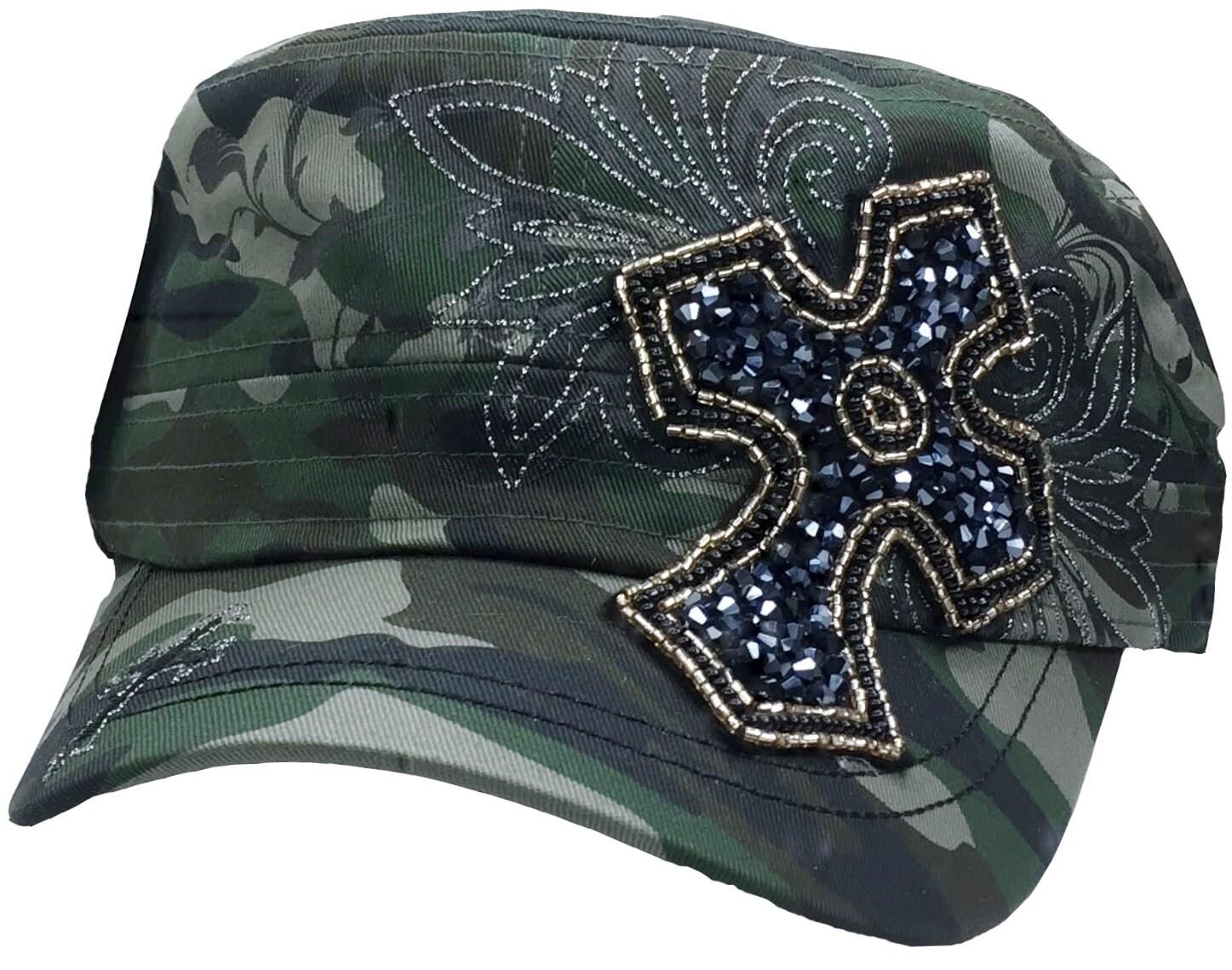 s camo cross hat green camo bling hat cadet hat