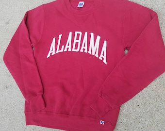 Vintage 90s Alabama Crimson Tide Crew Neck Sweatshirt by Russell Athletic | Women's XS | College Football | Made in U.S.A | TUFF