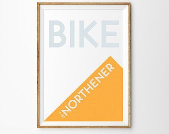 Bike Like a Northerner A4 Print Art Wall Art Orange