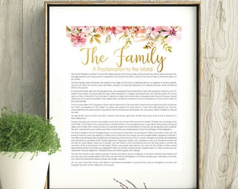 LDS Family Proclamation, LDS Wall Art, Printable, Instant Download, LDS coral gold art, Watercolor flowers