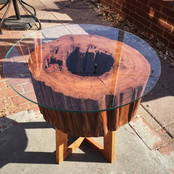"Live Edge Cherry Wood Side Table. Glass Top. 17"" tall x 17"" wide."