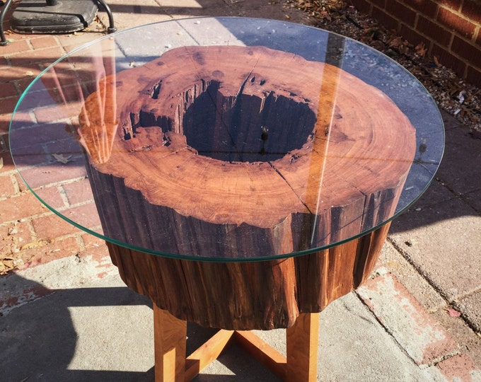 """Live Edge Cherry Wood Side Table. Glass Top. 17"""" tall x 17"""" wide."""