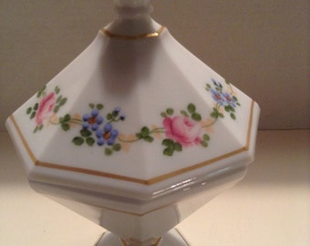 West Moreland covered dish milk glass
