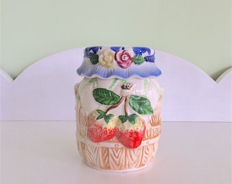 Canister, Strawberries, Japan, Kitchenalia, Jam Pot,