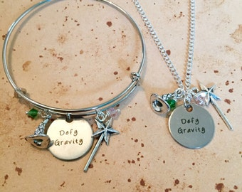 Defy Gravity - Quote Charm Necklace, Bangle or Keyring