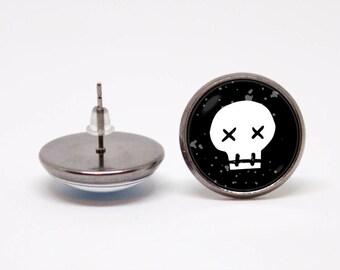 Sugar skull earrings Skull jewelry Skull earrings Sugar skull jewelry Skull gift Skull jewellery Gothic earrings Day Of The Dead Skull stud