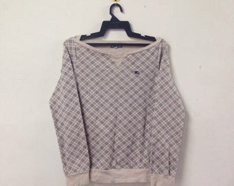Rare BURBERRY LONDON Blue Label Nova Check Sweatshirt Sweater For her Women