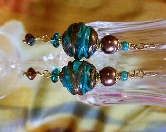 Teal and Antique Gold Lampwork Earrings