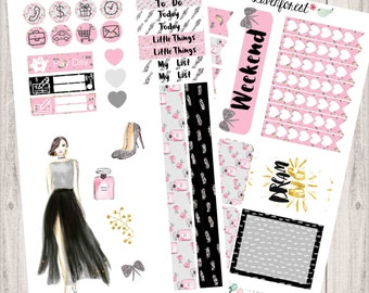 fashion girl planner stickers kit,January planner sticker, mini kit sticker, MK015