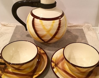 1 Vintage Under glazed Hand Painted Organie  vernonware  tea pot and tea cup with daucer