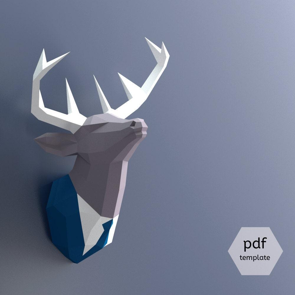 T te de cerf de papercraft pour fabriquer votre propre - Animaux en papier 3d ...