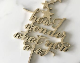 How I Wonder What You Are : Gender Reveal Cake Topper