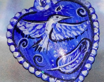 Blue Bird feather heart jewelry pendant necklace DIY