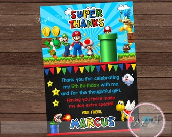 Super Mario Thank You Card, Super Mario Thank You Note, Mario and Luigi Thank You Card,  Super Mario Party, Super Mario, Digital File
