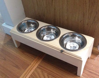 Raised 3 (2 cup)Bowls Pet Feeder,Handmade Wooden For Dogs and Cat