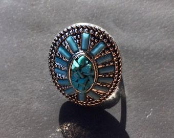 Metal stone Ring size8
