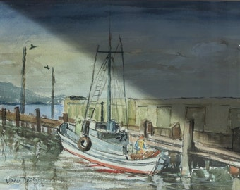 Boat Scene At Docks Watercolor Painting by Renowned Artist Werner Phillip.