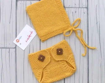Handmade, Newborn Set, Newborn Photo Props, Wool, Cashmere, Pixie, Bonnet, Yellow, Baby, Diaper Cover, Neonato, Accessori set fotografico.