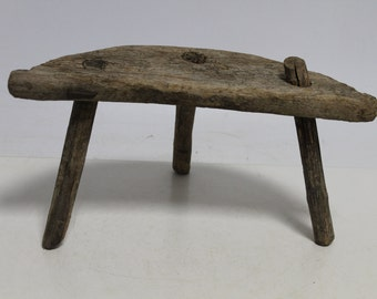 Antique Primitive Old Wooden Stool Chair