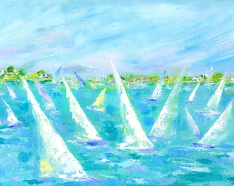 Saturday Regatta: Limited Edition signed and numbered giclee sailing print from original sailing painting