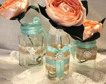 Wedding centerpiece, Set of 3 lace and burlap vases, Rhinestone vases, mint green satin