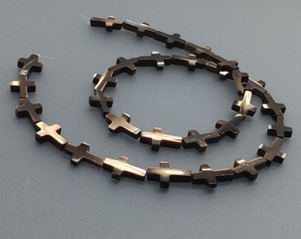 1Full Strand Mother Of Pearl Cross Beads ,9mm*13mm Black Pearl Cross Beads For Jewelry Making