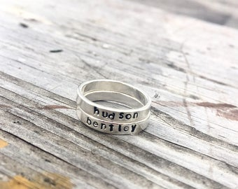 Personalized Sterling Silver Stackable Rings Name Rings Mom Gift Kids Name Rings