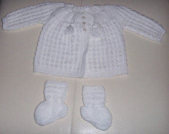 Hand knitted baby coat and boots set