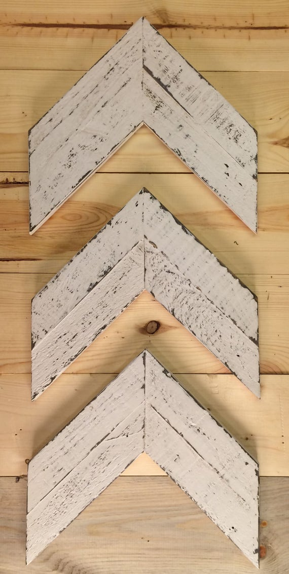 Chevron Arrows, Wooden Arrows, Arrow Wall Art, Arrow Décor, Chevron Wood Arrows,Wood Wall Art, Farmhouse Décor, Set Of Three, Rustic Arrows