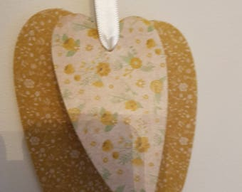 Vintage Hanging Heart - Green/Yellw Floral