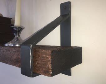 Rustic Shelf with hand made brackets, each shelf made to your specifications of reclaimed barnwood, farmhouse decor.  The Jacobstown