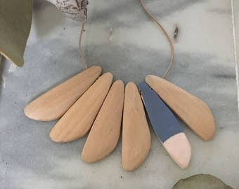 Dove Necklace - Blue, White, Timber
