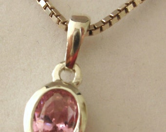 Solid 925 Sterling Silver OCTOBER Birthstone Oval TOURMALINE Pendant