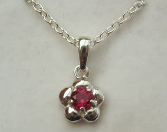 Solid 925 Sterling Silver July Birthstone Daisy Ruby Pendant