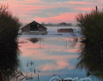 Dramatic Sunrise Photo, Fine Art Photography, Saskatchewan Sunrise, Landscape Photo, Pink & Blue, Water Reflection, Home Decor, Office Decor