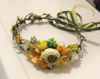 Yellow Floral crown Flower headband Hair Vine Bridal headband  Flower wreath Hair band Headwear Festival Garland Wedding circlet