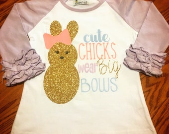 Girls Easter Boutique Ruffle Raglan. Baby, Toddler and Girls sparkle Chick shirt for Easter. Bow t-shirt for babies & children.