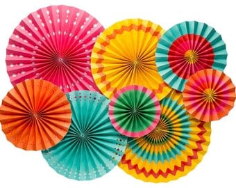 Fiesta Party Fans, Fiesta Party Decor, Fiesta Decorations,Colorful Party Fans, Paper Fans, Fiesta Party, Mexican Fiesta, Cinco de Mayo Decor