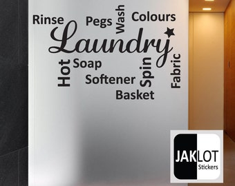 LAUNDRY COLLAGE WORDS - Vinyl Wall Art Sticker Decal