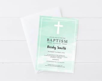 Watercolour Baby Boy Baptism | Watercolour Baby Boy Christening Invitation