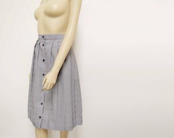 Pleated Midi Skirt, 1980s, UK16, Black and White, Grandma Skirt, Vintage Clothing, Ladies Clothing, Office Skirt