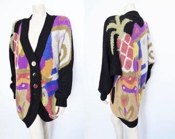 Free Shipping* Vintage Boho Thick Cardigan, Multicoloured,Coogi, Pineapple, Mohair, Vintage Knit, Festival Clothing, Vintage Clothing