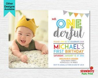Mr ONEderful Invitation, Boy First Birthday Invitation, Photo Invitation, 1st Birthday, Customize Printable Invitation, A27